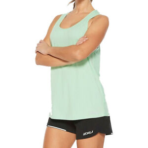 2XU Womens XVENT G2 Vest Green Sports Running Gym Breathable Reflective