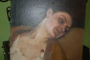 Gemälde Öl/Leinwand G.F.Klemm Brustportrait Dame ruhend  Spitzenhemd