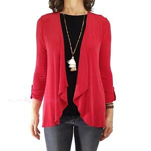 CHICOS TRAVELERS 00 XS Open Front Jacket Red 3/4 Slv Cardigan Style Jacket Top