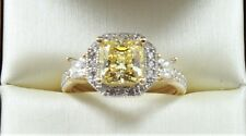 3.50 TCW FANCY YELLOW PRINCESS CUT ENGAGEMENT WEDDING RING SOLID 14K YELLOW GOLD
