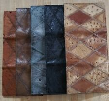 Lot of 5 Ostrich Mens Trifold Leather Wallets, different colors