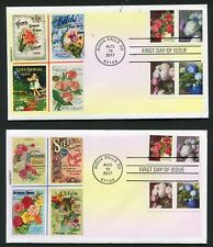 5233-5240 * FLOWERS FROM THE GARDEN * SHEET & COIL * ALL 8 STAMPS ON 2 FDCs *