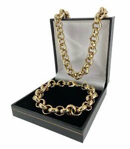 Set 12mm 18k Gold GF Diamond Cut Pattern Belcher Chain and Bracelet Men Boys