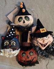 SET 4 NWT Witch Black CAT Jack O Lantern Pumpkin Ghost Skeleton Halloween Decor