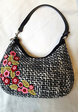 Black WhiteTweed Fabric Boho Handbag Red Pink Green Floral Beaded Silver Trim