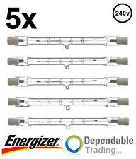 5x ENERGIZER 400w = 500w 118mm Tubo tungsteno alogena Basso consumo R7s