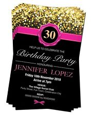 BIRTHDAY PARTY INVITATIONS Age 21st 30th 40th 50th 60th Pink Gold Personalised