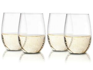 Stemless Plastic Wine Glasses - Set of 4 Clear Flexible & Shatterproof, 16 Oz