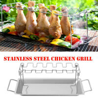 Non-Stick Barbecue Grill BBQ Barbecue Rack Chicken Leg Holder with Drip Pan