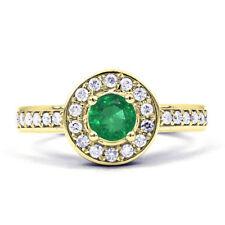 Emerald Cluster Round Not Enhanced Fine Gemstone Rings