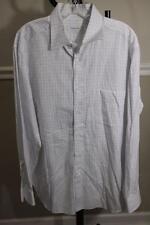 Ermenegildo Zegna Men's White/Blue Plaid Dress Shirt Size 17/43