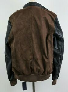 AC Made In Italy Mens Faux Brown Suede and Leather Sleeve Bomber Jacket XL