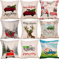 Merry Christmas Xmas Gift Plaid Throw Pillow Case Cover Cushion 18 x 18 Inch