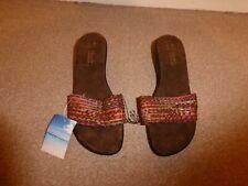 Womens Debenhams Mules Sliders Sandals Chunky heel  Sole shoes  Size UK 6 brown