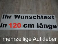 Wunschtext Aufkleber Auto Domain Beschriftung Schriftzug 120cm mehrzeilig !