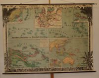 Schulwandkarte Deutsche Südsee-Kolonien ~212x159cm ~1910 vintage german wall map