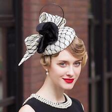 Women's Kentucky Derby Church Wedding Noble Dress Linen Feather Sinamay Hat White