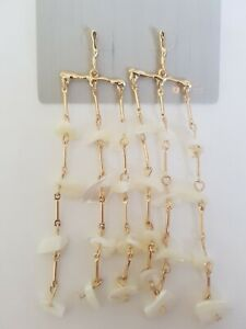 Freedom At Topshop Gold And White Real Shell Dangle Drop Earrings