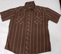 Men's Micros Snap Down Shirt Short Sleeve Brown Striped Size M Medium