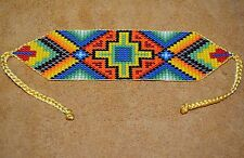 Handmade Glass Seed Bead Loom Work Four Directions Beadwork Bracelet, Colombia