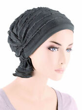 Abbey Cap ® Chemo Hat Cancer Beanie Scarf Ruffle Charcoal Gray