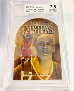 MICHAEL JORDAN 1997-98 FINEST MASTERS EMBOSSED BGS 7.5 RARE 🔥 BULLS 9.5 CENTER