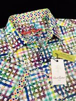 Robert Graham Cortile Multicolor Short Sleeve Shirt Large $158