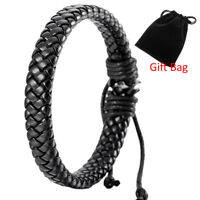 Hot Mens Womens Leather Black Bracelet Bangle Cuff Rope Surfer Wrap Adjustable