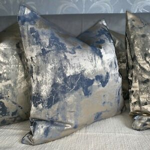Scatter Cushion Cover Gold Navy Tessere Clarke & Clarke Fabric Shimmer Effect
