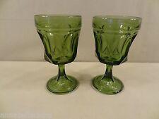 "Anchor Hocking ""Fairfield-Avocado Green"" 2 Water Goblets"