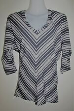 METALICUS Grey STriped Organic Cotton Blend 3/4 Sleeve Top One Size Small Med Lg