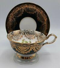 Collingwood's  Black Bone China Teacup Large Pink Cabbage Rose BIN6