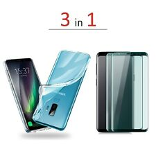 Silicone Case Samsung Galaxy S9, S9 Plus, Note 9 Clear and Black +2 pack glasses