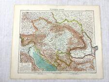 1907 Mappa Antica di il Austro Ungherese Empire Hungary Adriatico Mare Bosnia