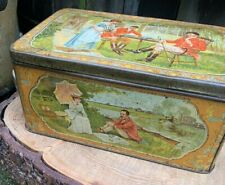 More details for antique edwardian liverpool china & india tea co ltd tin caddy tea for two scene