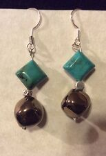 Kazuri Bead and Turquoise Gemstone Earrings -Antique Gold Cube