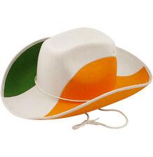 12x COWBOY HAT GREEN WHITE ORANGE ST PATRICKS DAY IRELAND ADULT FANCY DRESS