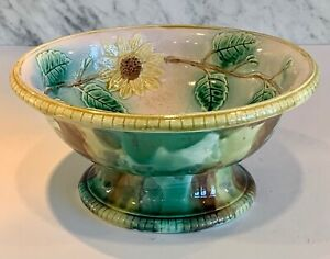 """Exquisite Majolica Sunflower Pedestal Bowl Pink Yellow Green Compote 10"""""""