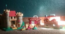 Mixed vintage fisher price little people lot, castle, cottage, Mc Donalds, cars