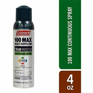 Coleman Insect Mosquito Bug Repellent 100 Max 100% DEET Spray Camping 4 Oz Can