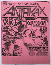 Anthrax D.R.I. Possessed C.O.C. Olympic Aud L.A. 1986 Punk Metal Concert Flyer