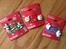 3 Sets Rudolph Barrettes*Santa, Abominable Snowman, Burl Ives Snowman Host