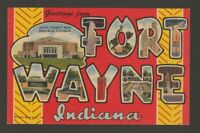 [73750] OLD LARGE LETTER POSTCARD GREETINGS from FORT WAYNE, INDIANA