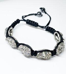 Unisex Silver Skull Rhinestone Beads Black Braided Shamballa Punk  Bracelet