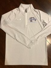 Under Armour Loose Cold Gear 1/4 Zip Pullover Stripe Gray & White Shirt Size S