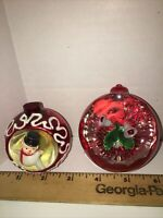 Vintage Diorama Christmas Ornament and Mercury Glass pop out