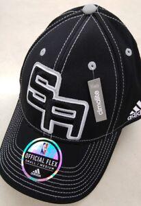 SAN ANTONIO SPURS NBA ADIDAS OFFICIAL ON COURT HAT CAP BLACK  FLEX FIT S/M  $28