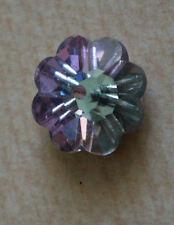 Swarovski Crystal 14 mm Round Flower Shape Purple Sew on 1 hole  Silvered Back