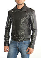 Chiodo Giacca Giubbotto in Pelle Uomo Men Leather Jacket Blouson Homme Cuir 17ps