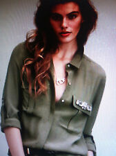 H&M CONSCIOUS TREND DIVIDED OLIVE/ARMY GREEN SHIRT/BLOUSE RHINESTONE  FINAL DAYS